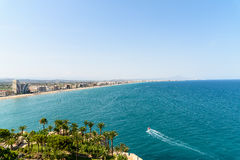 Aerial Panoramic Skyline View Of Peniscola City Beach Resort At Mediterranean Sea In Spain. PENISCOLA, SPAIN - JULY 28, 2016: Aerial Panoramic Skyline View Of Stock Images