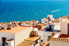 Aerial Panoramic Skyline View Of Peniscola City Beach Resort At Mediterranean Sea In Spain. PENISCOLA, SPAIN - JULY 28, 2016: Aerial Panoramic Skyline View Of Stock Photo