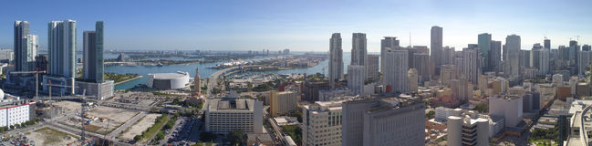 Aerial panoramic stock image Miami Royalty Free Stock Photography