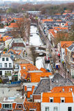 Aerial panoramic street view with canal and houses in Delft, Holland Royalty Free Stock Photography