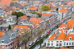 Aerial panoramic street view with houses in Delft, Holland Royalty Free Stock Image