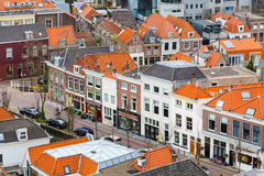 Aerial panoramic street view with houses in Delft, Holland Stock Images