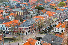 Aerial panoramic street view with houses in Delft, Holland Royalty Free Stock Photos