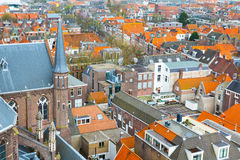 Aerial panoramic street view with houses in Delft, Holland Royalty Free Stock Photography