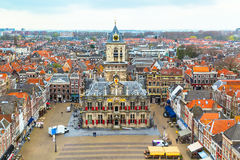 Aerial panoramic street view with houses in Delft, Holland Royalty Free Stock Images