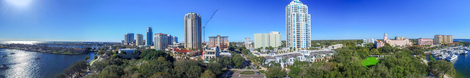 Aerial panoramic sunset view of Saint Petersburg, Florida Stock Images