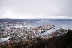 Aerial panoramic top view from hill on city of bergen in cloudy sky, norway Stock Photo