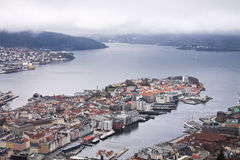 Aerial panoramic top view from hill on city of bergen in cloudy sky, norway Stock Photography