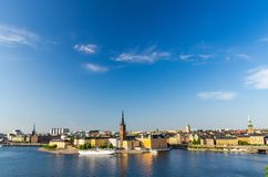 Aerial panoramic top view of Riddarholmen district, Stockholm, S royalty free stock photos