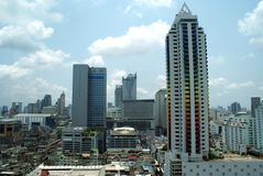 Aerial panoramic urban view of Bangkok, Thailand, Asia Royalty Free Stock Images