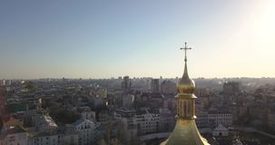 A bird`s eye view, panoramic video from the drone in 4K to the the golden dome of Saint Sophia`s Cathedral in the city. Aerial panoramic video from the drone stock video