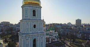 A bird`s eye view, panoramic video from the drone in 4K to the Saint Sophia`s Cathedral-the bell tower and main building. Aerial panoramic video from the drone stock footage