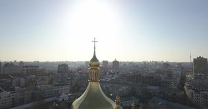 A bird`s eye view, panoramic video from the drone in 4K to the Saint Sophia`s Cathedral-the bell tower and main building. Aerial panoramic video from the drone stock video footage