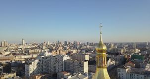 A bird`s eye view, panoramic video from the drone in 4K to the golden dome Saint Sophia`s Cathedral, Maidan. Aerial panoramic video from the drone, bird`s eye stock footage