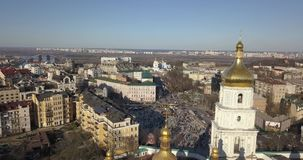 A bird`s eye view, panoramic video from the drone in 4K to the Saint Sophia`s Cathedral, Sofiyivska Square, left bank of. Aerial panoramic video from the drone stock footage