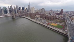 Aerial panoramic video footage Manhattan Bridge stock video