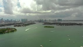 Aerial panoramic video Miami Beach Biscayne Bay