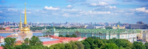 Aerial panoramic view of Admiralty tower and Hermitage, St Petersburg Russia. Aerial panoramic view of Admiralty tower and Hermitage, St Petersburg, Russia Royalty Free Stock Photo