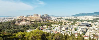Aerial panoramic view of Athens with Acropolis hill, Greece stock images