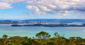 Aerial panoramic view of Auckland City downtown from Rangitoto Island mountain Stock Images