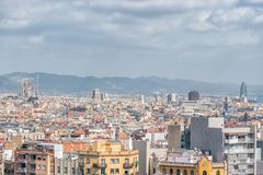 Aerial panoramic view of Barcelona city skyline and Sagrada familia in Spain.  stock images