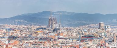 Aerial panoramic view of Barcelona city skyline and Sagrada familia in Spain.  royalty free stock image