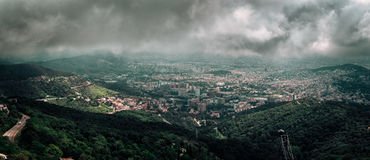 Aerial panoramic view on Barcelona town from Tibidabo mount, Spain Royalty Free Stock Photography