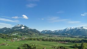 Aerial panoramic view of Bavarian landscape close to the alps stock images