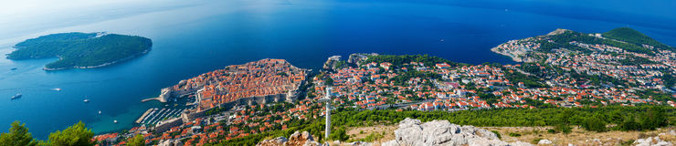 Aerial panoramic view of the beautiful Dubrovnik Royalty Free Stock Photos