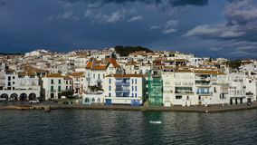 Aerial panoramic view of Cadaques Spain. seagulls fly close to the camera. Video footage 4K. Dali town stock footage