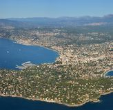 Aerial Panoramic View of Cannes City, Marina & Coast France stock photography