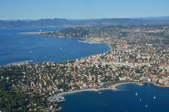 Aerial Panoramic View of Cannes City, Marina & Coast France Stock Images