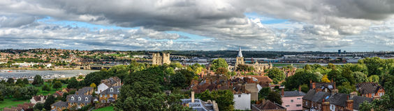 Aerial panoramic view of city of Rochester in Kent, England. Rochester, United Kingdom - September 12, 2015: Aerial panoramic view of city of Rochester in Kent Royalty Free Stock Images