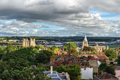 Aerial panoramic view of city of Rochester in Kent, England. Rochester, United Kingdom - September 12, 2015: Aerial panoramic view of city of Rochester in Kent Royalty Free Stock Photo