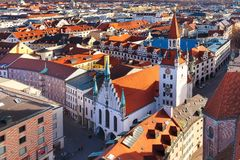 Aerial view and city skyline in Munich, Germany Royalty Free Stock Photo