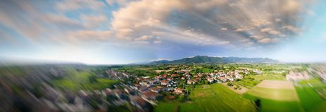 Aerial panoramic view of city suburbs.  Royalty Free Stock Photo