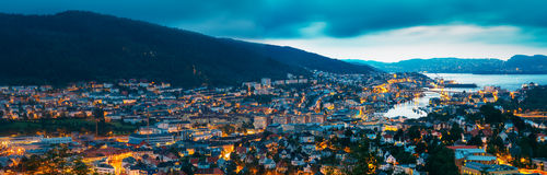 Aerial panoramic view Cityscape of Bergen and Stock Images