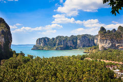 Aerial panoramic view from cliff on Railay beach Stock Photography