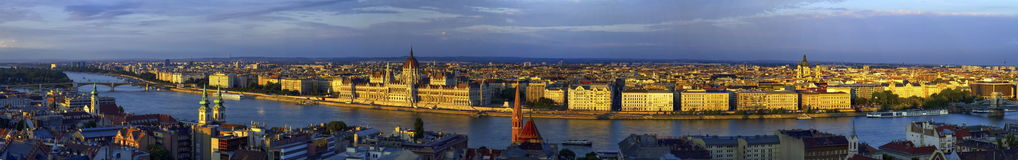 Aerial panoramic view of Danube and Budapest city, Hungary. Aerial panoramic view of Danube and Budapest city by sunset, Hungary royalty free stock photography