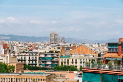 Aerial Panoramic View Of Downtown Barcelona City Stock Images