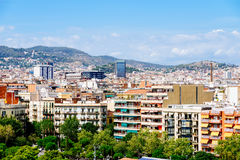 Aerial Panoramic View Of Downtown Barcelona City Stock Photo