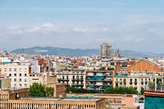 Aerial Panoramic View Of Downtown Barcelona City Royalty Free Stock Photo