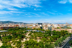 Aerial Panoramic View Of Downtown Barcelona City Royalty Free Stock Photos