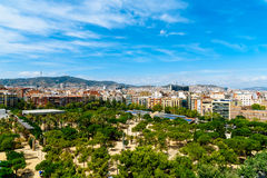 Aerial Panoramic View Of Downtown Barcelona City Royalty Free Stock Photography