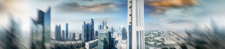 Aerial panoramic view of downtown city skyline at sunset, Dubai. Aerial panoramic view of downtown city skyline at sunset, Dubai Royalty Free Stock Photography
