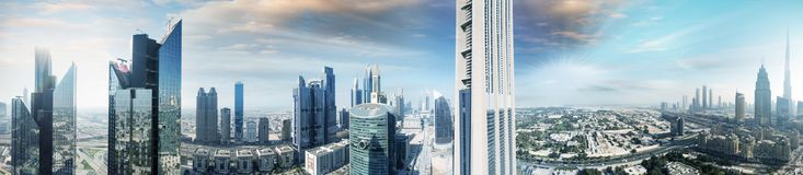 Aerial panoramic view of downtown city skyline at sunset, Dubai. Aerial panoramic view of downtown city skyline at sunset, Dubai Stock Photography