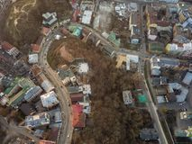 A bird`s eye view, aerial view shooting from drone of the Podol district, oldest historical center of Kiev, Ukraine. Aerial panoramic view from the drone, bird` Stock Images