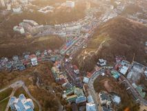 A bird`s eye view, aerial view shooting from drone of the Podol district, oldest historical center of Kiev, Ukraine. Aerial panoramic view from the drone, bird` Royalty Free Stock Photography