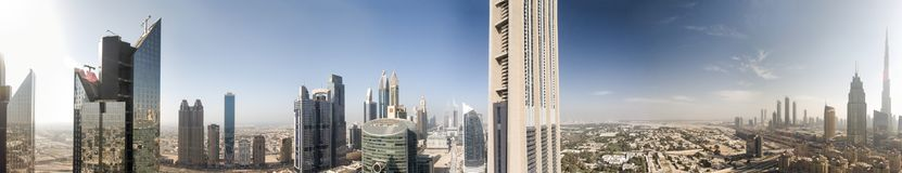 Aerial panoramic view of Dubai skyline from the city river, Unit stock photos