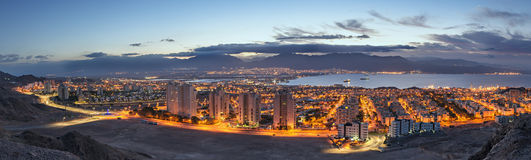 Aerial panoramic view on Eilat (Israel) and Aqaba (Jordan) Royalty Free Stock Photo